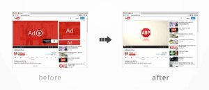 Before, and after, installing Adblock Plus